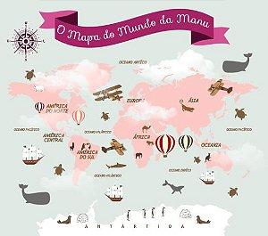 Mapa Mundi Infantil em Tons de Rosa com Nome Personalizado