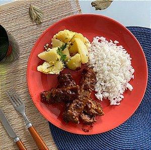 Costela Suína ao molho Barbecue com batata sauté e arroz 600g