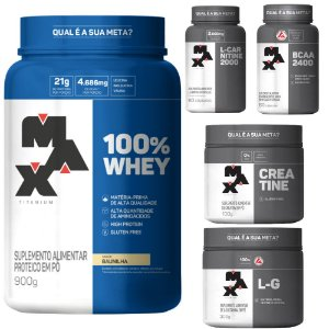 KIT TREINO COMPLETO: 100% Whey + BCAA + Creatina + Glutamina + L-Carnitina