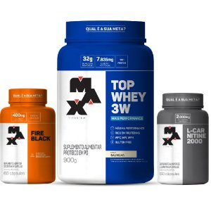 KIT MASCULINO - SECAR: Top Whey + Performance + Fire Black + L-Carnitina