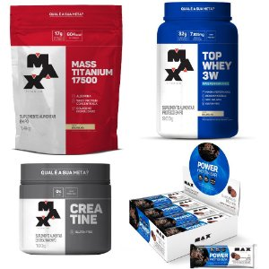 KIT CRESCER MAIS: Top Whey 3W +Performance + Mass Titanium + Creatine + Power Protein Bar