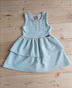 Vestido verde claro com pérolas - Kiki Xodó 3 anos