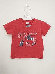 Camiseta manga curta vermelho - Brandili 12 meses