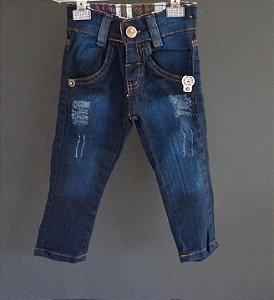 Calça jeans escuro desfiado - 6 meses