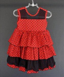 Vestido vermelho poá preto e babado - 12 meses