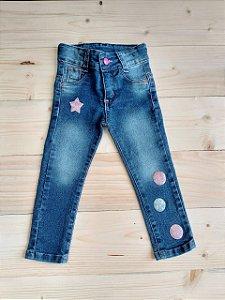 Calça jeans lantejoulas - 2 anos
