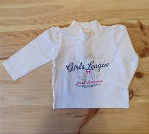 Camiseta manga longa branca - 3-6 meses