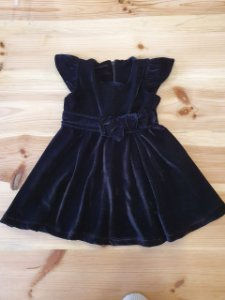 Vestido de veludo - Oliva 9-12 meses