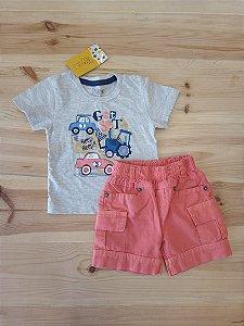 Conjunto camiseta manga curta + shorts salmon - KikoBaby 9 meses