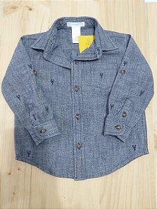 Camisa manga longa estampa jeans - JanieAndJack 18-24 meses