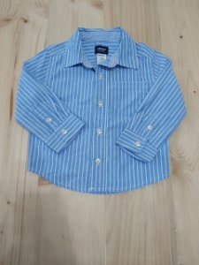 Camisa manga longa azul listra branca - Carters 12 meses