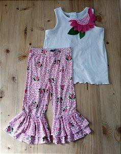Conjunto regata branca + calça comprida florida - Mudpie 4 anos