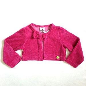 Bolero manga longa veludo pink - Brandili 24 meses