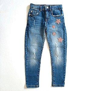 Calça jeans estrelas rosa - Zara 6 anos