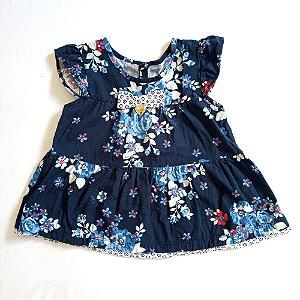 Vestido manga curta azul marinho florido - Milon 9 meses