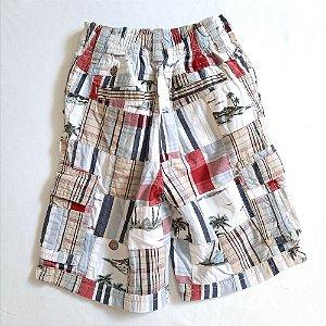 Shorts xadrez bege/branco/vinho - Gymboree 4 anos