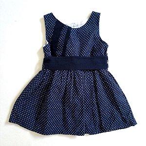 Vestido regata azul marinho poá com faixa - 9 meses