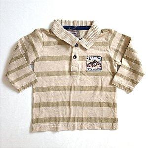 Camiseta manga longa gola polo - Brandili 6-9 meses