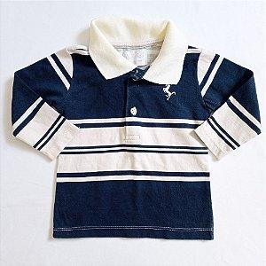 Camiseta manga longa gola polo - MiniVida 3-6 meses