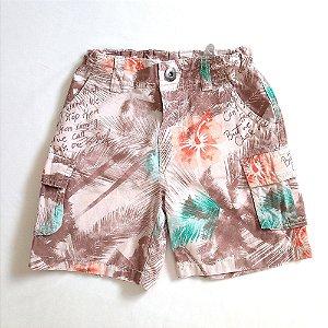 Shorts estampado marrom - Poim 2-3 anos