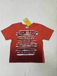 Camiseta manga curta vermelha estampada - Fakini 3 anos