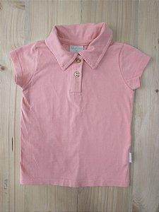 Camisa manga curta gola polo salmão - Quimby 3 anos