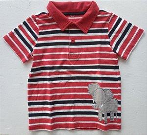 Camiseta manga curta gola polo listras elefante - 3 anos