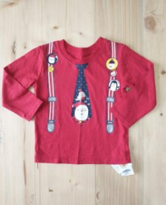 Camiseta manga longa natal - 9-12 meses (veste 12-18)