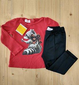 Conjunto camiseta + calça - Linna Valentinna 12 meses