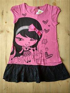 Vestido pink saia rendada - Farrapinhos 6 anos