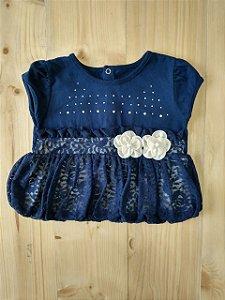 Camiseta manga curta azul marinho com renda - Paraíso 9-12 meses