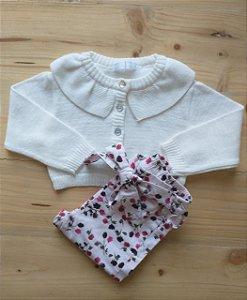 Conjunto casaco linha + calça floral - Paola Bimbi 9-12 meses