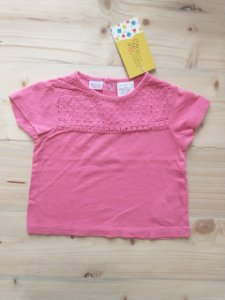 Camiseta manga curta rosa - Zara 6-9 meses