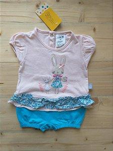 Romper rosa e azul coelhinha - 6-9 meses