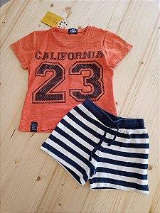 Conjunto camiseta manga curta laranja + shorts listrado azul e branco - Arte Menor 9-12 meses