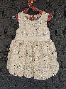 Vestido festa com flores e lantejoula - American Princess 18 meses