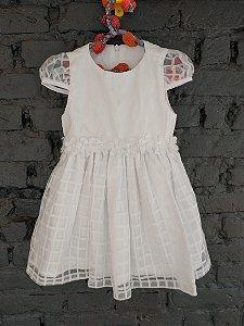 Vestido festa branco saia xadrez + calcinha + meia - 18 meses