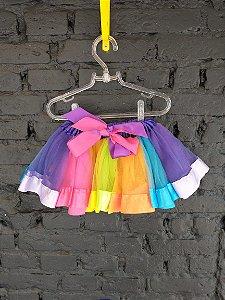 Fantasia saia tutu colorida - 12-24 meses