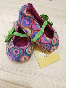 Sapatinho tecido colorido - 3-6 meses