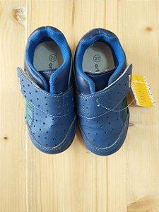 Tênis azul com detalhe verde e velcro - Ortopasso nº 22