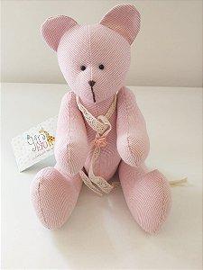 Urso xadrez rosa artesanal - Caixinha de Bonecas