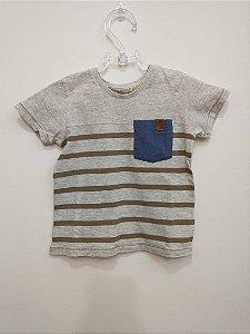 Camiseta manga curta cinza listras - Poim 12 meses