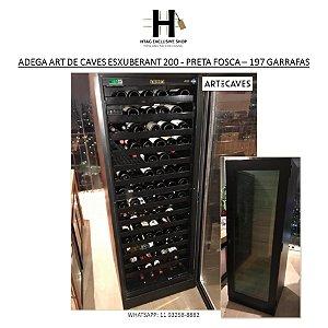 ADEGA PARA VINHOS ART DE CAVES EXUBERANT 200 REVESTIDA COM FÓRMICA PRETA FOSCA - 197 GARRAFAS