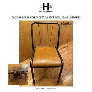 """CADEIRAS DE JANTAR """"LOFT"""" DA STOREHOUSE - 06 UNIDADES"""