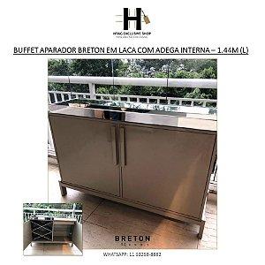 BUFFET APARADOR BRETON EM LACA TAMPO DE ESPELHO COM ADEGA INTERNA – 1.44M (L)
