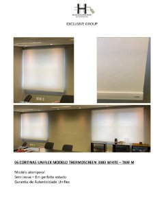CORTINAS UNIFLEX MODELO THERMOSCREEN 3003 WHITE – TAM M - 6 CORTINAS