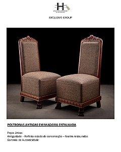 POLTRONAS ANTIGAS EM MADEIRA ENTALHADA