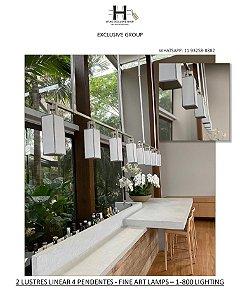 LUSTRE LINEAR COM 4 MINI PENDENTES - FINE ART LAMPS -1-800 LIGHTING