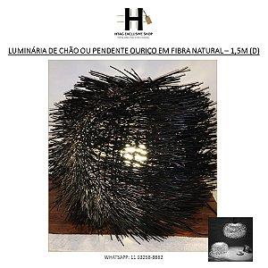 LUMINÁRIA BALINESA DE CHÃO OU PENDENTE ESPINHUDO EM FIBRA PRETA – 1,5M (D)