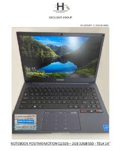 "NOTEBOOK POSITIVO MOTION Q232B – TELA 14"" - INTEL ATOM QUAD CORE"